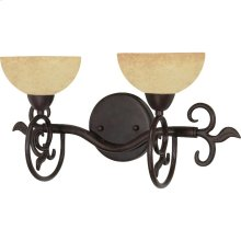 """2-Light 18"""" Old Bronze Wall Mounted Vanity Fixture with Tuscan Suede Glass"""