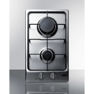 Summit2-burner Gas Cooktop With Sealed Burners, Stainless Steel Surface, and Cast Iron Grates