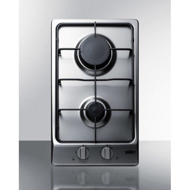 Summit 2-burner Gas Cooktop With Sealed Burners, Stainless Steel Surface, and Cast Iron Grates