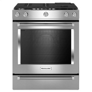 KitchenAid30-Inch 5 Burner Gas Convection Slide-In Range with Baking Drawer Stainless Steel