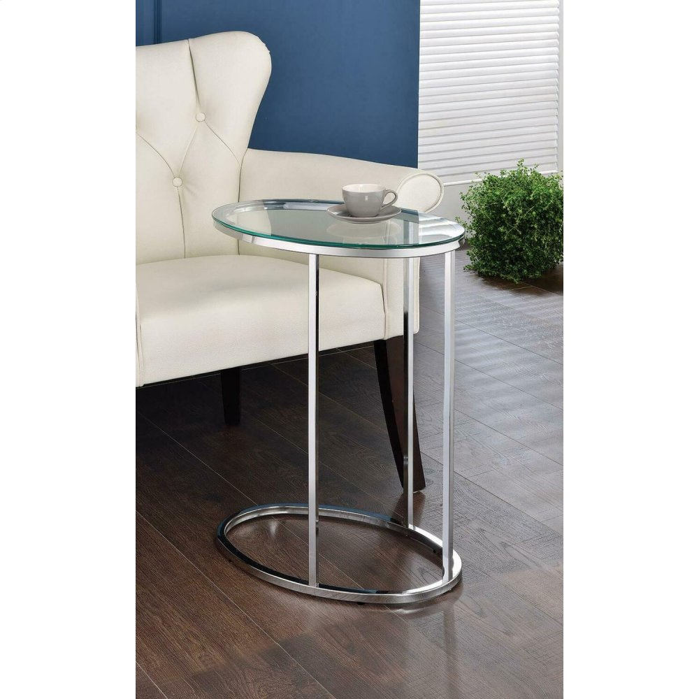 Contemporary Glass and Chrome Snack Table