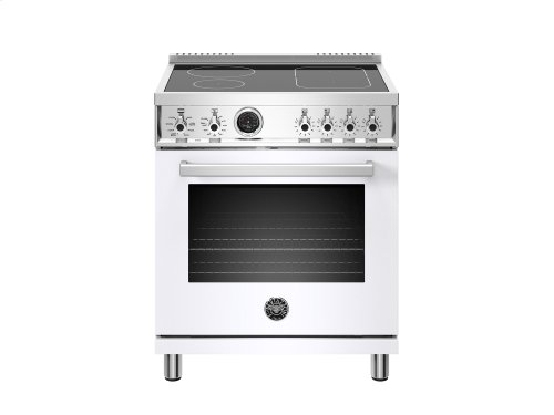 30 inch Induction Range, 4 Heating Zones, Electric Self-Clean Oven White