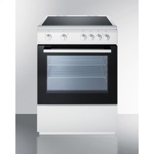"Summit24"" Wide Smoothtop Electric Range In Slide-in Style and White Finish, With Storage Drawer and Large Oven Window"