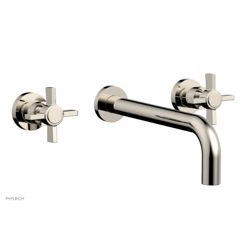 "Basic Wall Tub Set 10"" Spout - Blade Cross Handles D1137-10 - Polished Nickel"