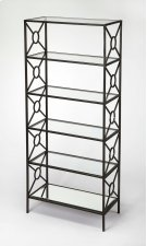 A great addition to the living room, den or home office. This etagere is crafted from Iron and MDF. The tempered glass shelves and beveled mirrored glass bottom shelf is held together by X-shaped metal bars with an open circle in the middle. The subtle g Product Image
