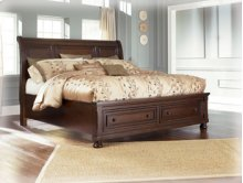 Queen-Size Bed with Sleigh Headboard and Storage Footboard