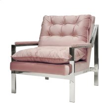 "Nickel Arm Chair W. Blush Velvet Cushions Seat Height 20"""