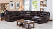 Barrington Brown Leather Gel Right Facing Chaise Reclining Sectional