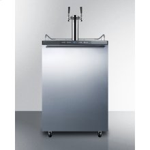 Built-in Residential Beer Dispenser, Auto Defrost With Digital Thermostat, Dual Tap System, Stainless Steel Door, Horizontal Handle, and Black Cabinet