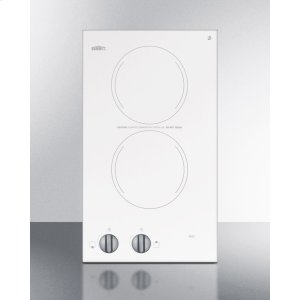 Summit115v Two-burner Cooktop In White Ceramic Glass, Made In Europe