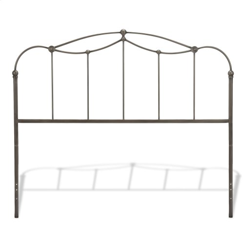 Affinity Metal Headboard Panel with Straight Spindles and Detailed Castings, Blackened Taupe Finish, King