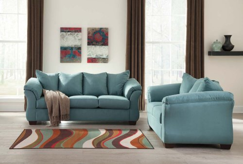 Ashley Sofa & Love Seat Package - Darcy - Sky