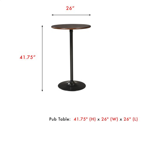 """Brookside 26"""" Circular Metal Pub Table with Wood Top and 42"""" Total Height, Cherry Wood Finish"""