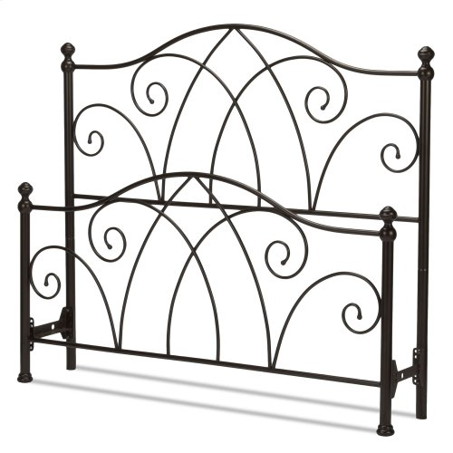 Deland Metal Headboard and Footboard Bed Panels with Arched Rails and Finial Posts, Brown Sparkle Finish, Queen