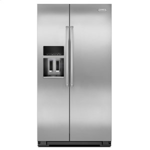 KitchenAid20 Cu. Ft. Counter Depth Side-by-Side Refrigerator with Exterior Ice and Water Monochromatic Stainless Steel