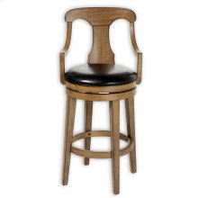 Albany Wood Barstool with Black Upholstered Swivel-Seat and Acorn Frame Finish, 30-Inch