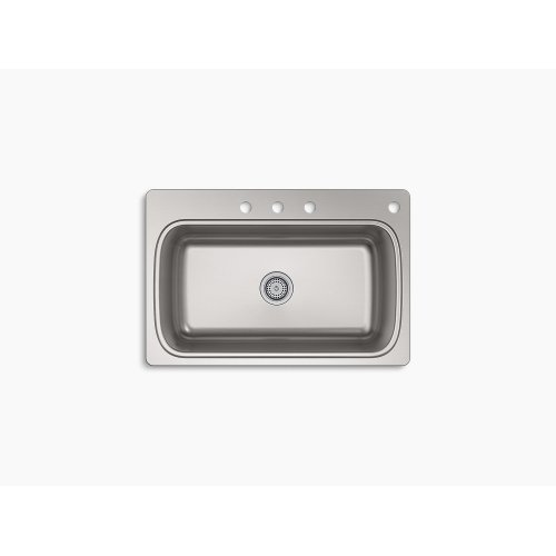 """33"""" X 22"""" X 9-5/16"""" Top-mount Single-bowl Kitchen Sink With 4 Faucet Holes"""