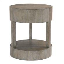 Calder Round Nightstand in Rustic Gray