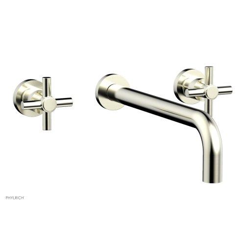 "Basic Wall Tub Set 12"" Spout - Tubular Cross Handles D1134-12 - Satin Nickel"