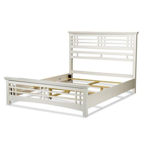 Avery Complete Bed with Wood Frame and Mission Style Design, Cottage White Finish, Full