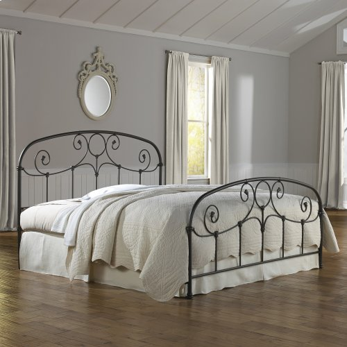 Grafton Metal Headboard and Footboard Bed Panels with Prominent Scrollwork and Decorative Castings, Rusty Gold Finish, Queen