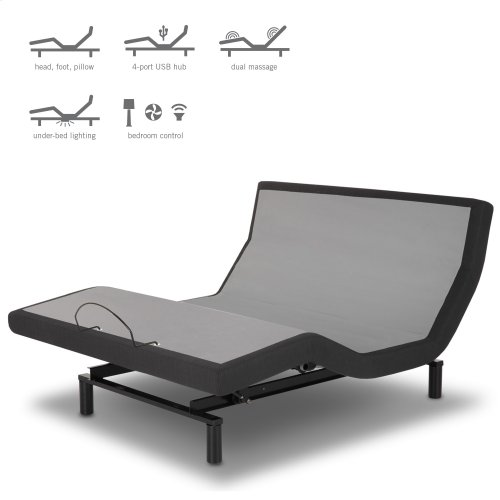 P-132 Foundation Style Adjustable Bed Base with LPConnect and (8) USB Ports, Charcoal Black Finish, Queen