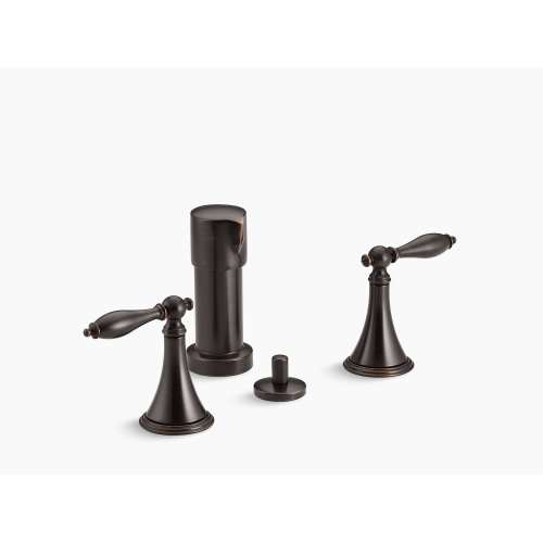 Oil-rubbed Bronze Vertical Spray Bidet Faucet With Lever Handles and Matching Handle Inserts