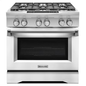 Kitchenaid36'' 6-Burner Dual Fuel Freestanding Range, Commercial-Style Imperial White