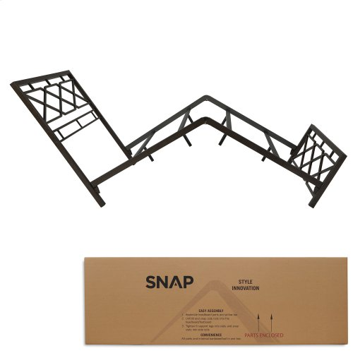 Alpine Metal SNAP Bed with Folding Frame Bedding Support System and Geometric Panel Design, Rustic Pewter Finish, Full