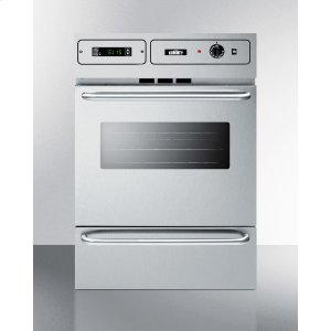 "SummitStainless Steel Gas Wall Oven With Electronic Ignition and Digital Clock/timer; for Cutouts 22 3/8"" Wide By 34 1/8"" High and With Stainless Steel Manifold"