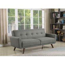 Mid-century Modern Grey and Walnut Sofa Bed