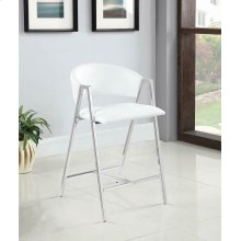 Contemporary White and Chrome Counter-height Stool