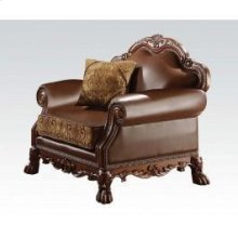 Chenille/pu Chair W/pillow