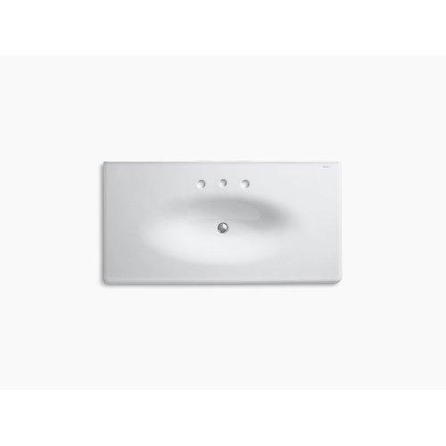 "Ice Grey 43"" Vanity-top Bathroom Sink With 8"" Widespread Faucet Holes"
