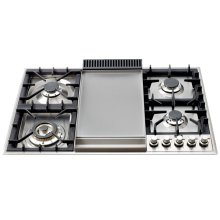 "Stainless Steel with 36"" - Built -in Gas Cooktop, extended countertops"