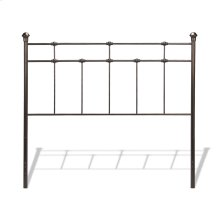 Dexter Metal Headboard Panel with Decorative Castings and Finial Posts, Hammered Brown Finish, Queen