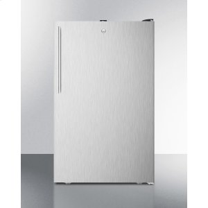 """SummitCommercially Listed 20"""" Wide Built-in Undercounter All-freezer, -20 C Capable With A Lock, Stainless Steel Door, Thin Handle and Black Cabinet"""