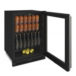 """U-Line1000 Series 24"""" Glass Door Refrigerator With Stainless Frame Finish and Field Reversible Door Swing (115 Volts / 60 Hz)"""