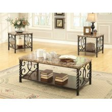 Occasional Table Sets Transitional Faux Marble Three-piece Set