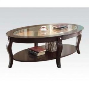 Oval Coffee Table W Gl Top N Hidden