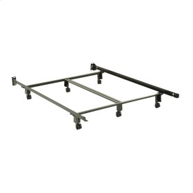 Inst-A-Matic Premium 761R Bed Frame with Headboard Brackets and (6) 2-Inch Locking Rug Roller Legs, Black Finish, Queen