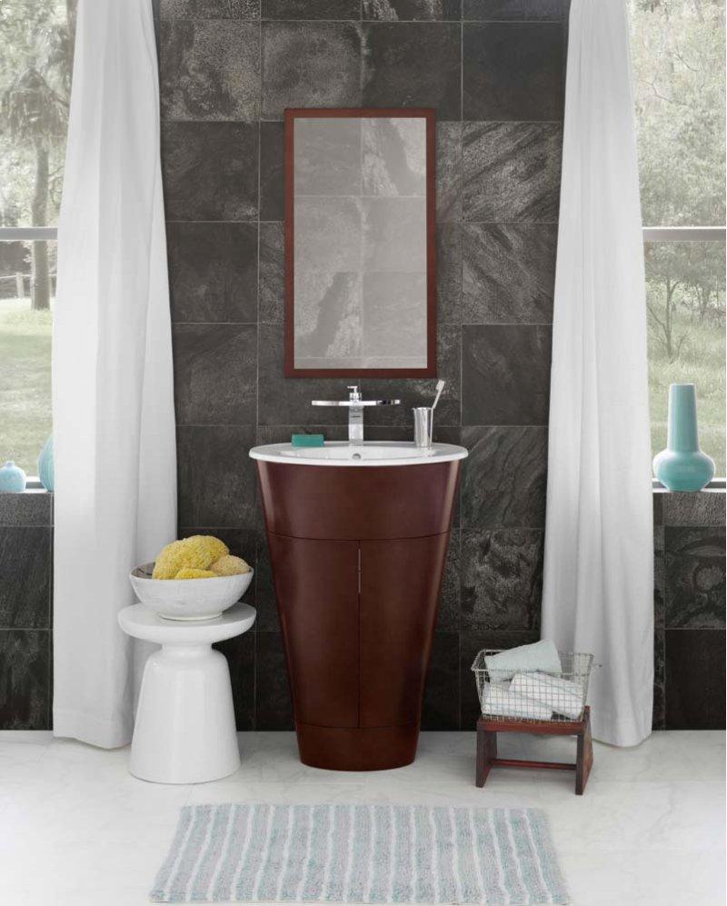 "Leonie 23"" Oval Bathroom Vanity Base Cabinet in Dark Cherry"