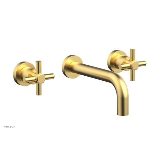 Basic Wall Tub Set Tubular Cross Handles D1134 - Burnished Gold