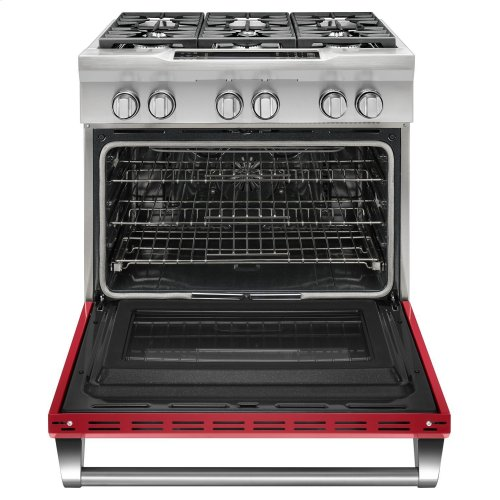 36'' 6-Burner Dual Fuel Freestanding Range, Commercial-Style Signature Red