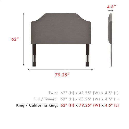 Bordeaux Upholstered Headboard with Adjustable Height and Sweeping Curve Design, Dolphin Finish, King / California King