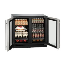 "Modular 3000 Series 36"" Glass Door Refrigerator With Stainless Frame Finish and Double Doors Door Swing (115 Volts / 60 Hz)"