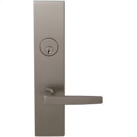 Exterior Modern Mortise Entrance Lever Lockset with Plates in (US15 Satin Nickel Plated, Lacquered)