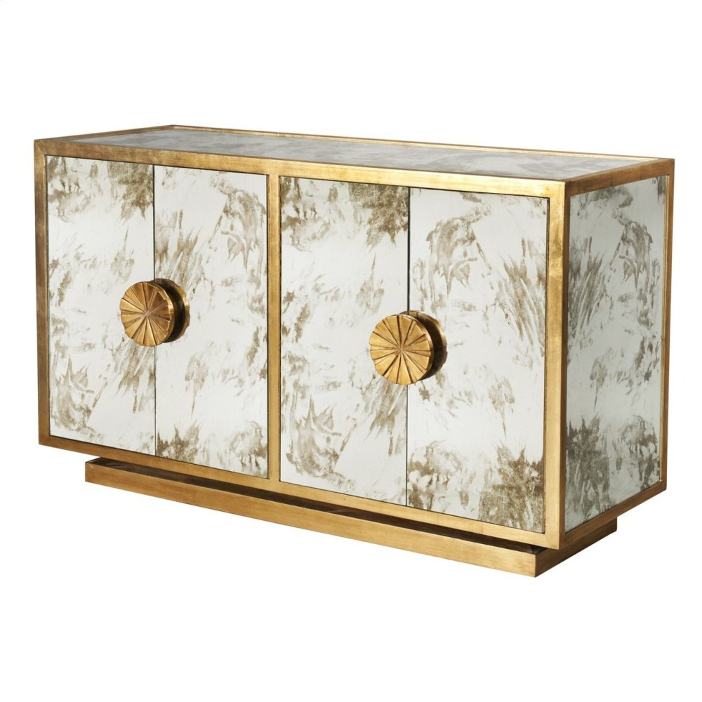Gold Leaf & Antique Mirror Cabinet With Starburst Handles