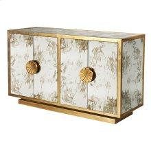 Gold Leaf & Antique Mirror Cabinet With Starburst Handles
