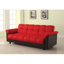 RED ADJUSTABLE SOFA W/STORAGE